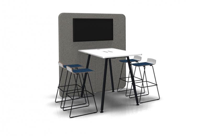 Büroeinrichtung Büro einrichten Büroausstattung moderne Büroeinrichtung Social space Medienwand
