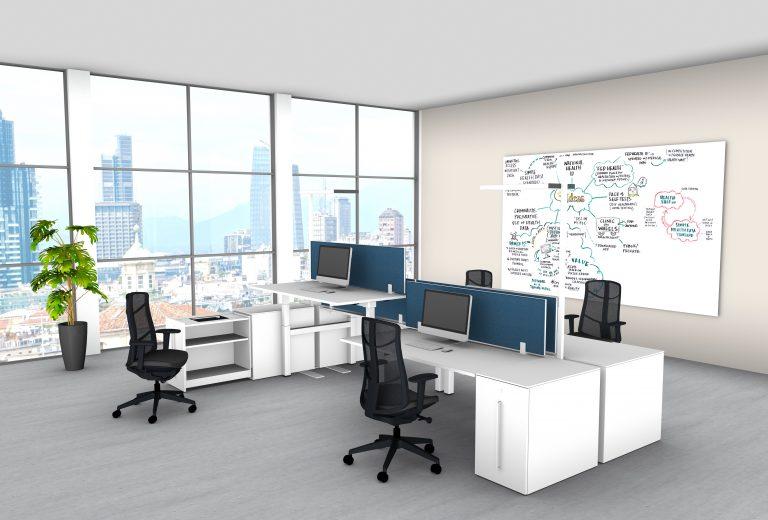 moderne Büroeinrichtung Teamarbeitsplatz Höhenverstellbarer Tisch Talo.S Arbeitsplatz