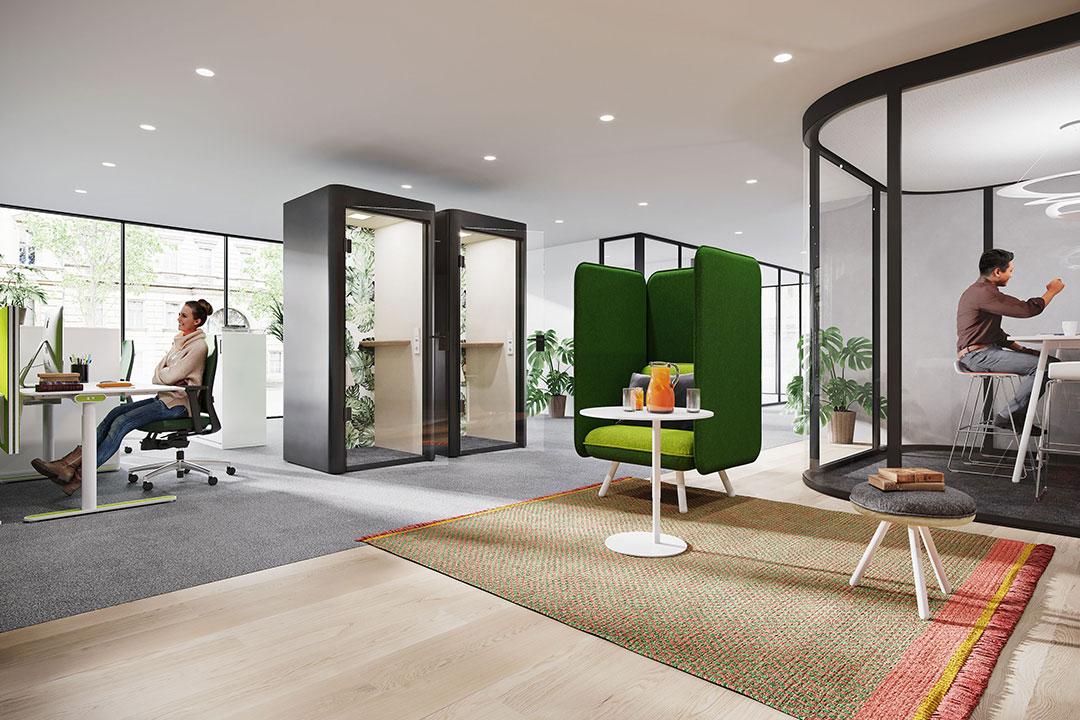 Space-Y Hauser Moderne Bürokonzepte Open Space Büro new work Büroeinrichtung Rückzugsräume